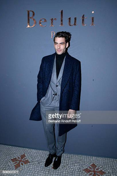 Model Jon Kortajarena attends the Berluti Menswear Fall/Winter 20162017 show as part of Paris Fashion Week on January 22 2016 in Paris France
