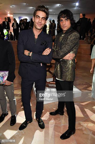 Model Jon Kortajarena wearing a Bulgari watch and photographer Sebastian Faena attend An Evening of Music Art Mischief and Performance to benefit...