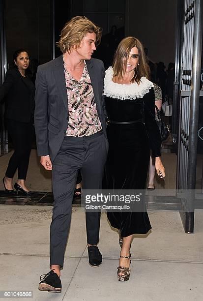 Model Jordan Barrett and Carine Roitfeld are seen leaving The Daily Front Row's 4th Annual Fashion Media Awards at Park Hyatt New York on September 8...