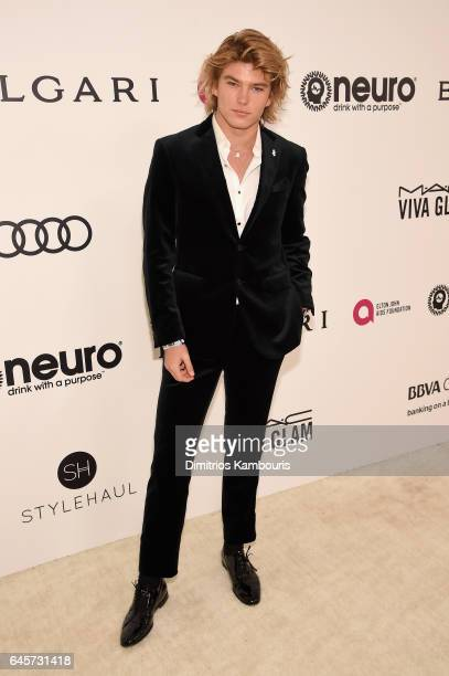 Model Jordan Barrett attends the 25th Annual Elton John AIDS Foundation's Academy Awards Viewing Party at The City of West Hollywood Park on February...