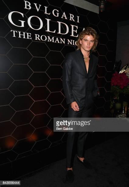 Model Jordan Barrett attends the Bulgari launch of new fragrance Goldea The Roman Night on September 6 2017 in the Brooklyn borough of New York City