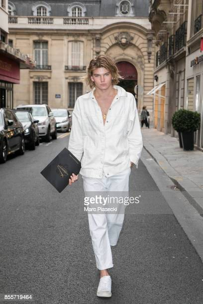 Model Jordan Barrett is seen is seen during Paris Fashion Week dressed down wearing Hogan trainers on September 29 2017 in Paris France