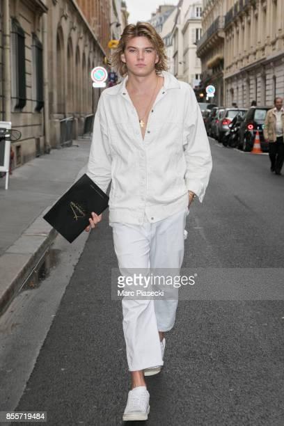 Model Jordan Barrett is seen is seen during Paris Fashion Week dressed down wearing Hogan trainers on September 29 2017 in Paris France