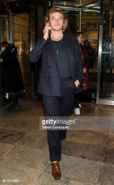 Model Jordan Barrett is seen leaving the Brandon Maxwell fashion show during New York Fashion Week at Appel Room on February 11 2018 in New York City