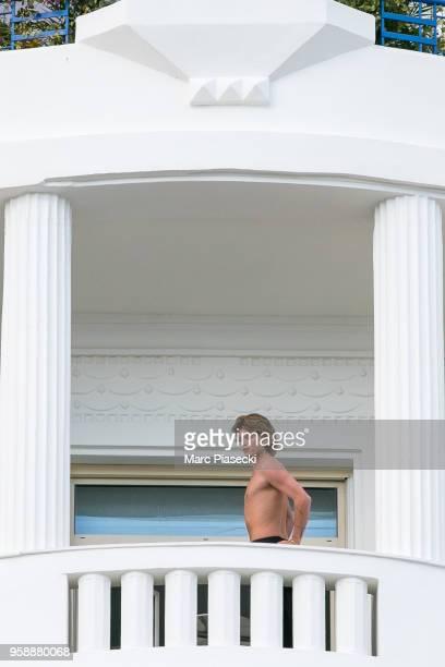 Model Jordan Barrett is seen on the balcony of Grand Hyatt Hotel Martinez during the 71st annual Cannes Film Festival on May 15 2018 in Cannes France