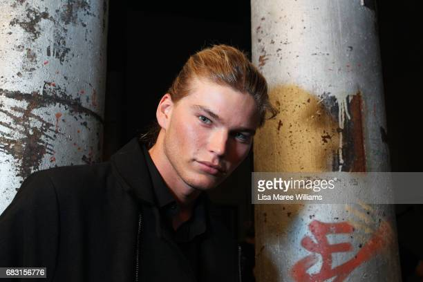 Model Jordan Barrett poses backstage ahead of the Justin Cassin show at MercedesBenz Fashion Week Resort 18 Collections at Carriageworks on May 15...