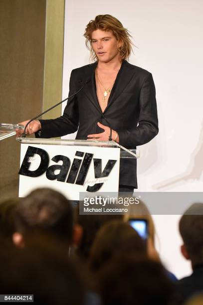 57d32c29 Model Jordan Barrett speaks onstage at the Daily Front Row's Fashion Media  Awards at Four Seasons. Editorial use only