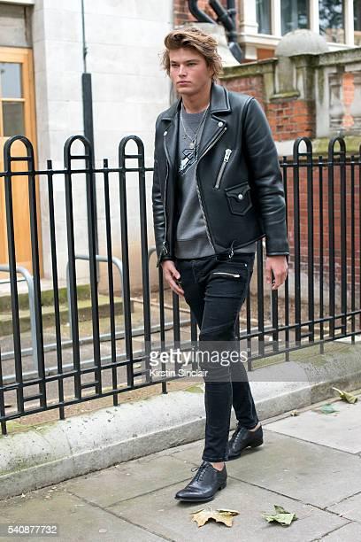 Model Jordan Barrett wears a Coach Jacket on day 4 of London Collections Men on June 13 2016 in London England Jordan Barrett