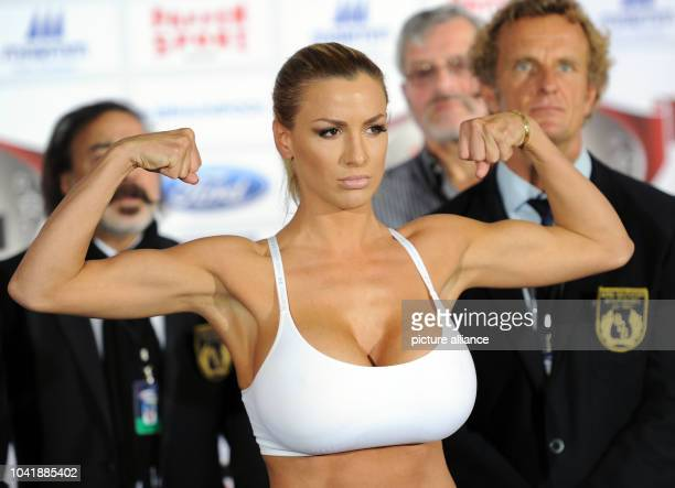 Model Jordan Carver poses during the weighin prior to the event 'Promiboxen' of German TV channel ProSieben in Duesseldorf Germany 25 September 2014...