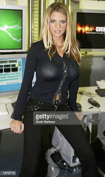 Model Jordan poses for photographers at the BBCi studio September 6 2002 in London Jordan was the first celebrity interviewed live on the web at...