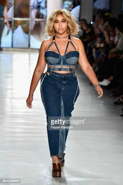 Model Jordyn Woods walks the runway for Chromat during New York Fashion Week at Gallery 3 Skylight Clarkson Sq on September 8 2017 in New York City