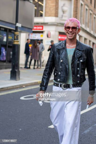 Model Josef Michael attends Richard Quinn Fashion Show at the Londoner Hotel during the London Fashion Week day 5.