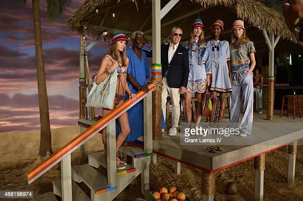 Model Josephine Le Tutour designer Tommy Hilfiger Basil Charles model Maartje Verhoef model Tami Williams and model Julie Hoomans pose at Tommy...