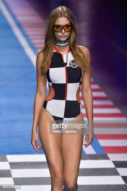 Model Josephine Skriver walks the runway at the Tommy Hilfiger show during Milan Fashion Week Fall/Winter 2018/19 on February 25 2018 in Milan Italy