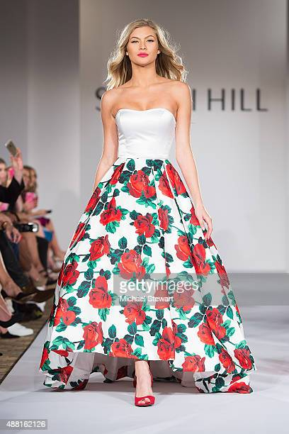 Model Josie Canseco walks the runway at the Sherri Hill fashion show during Spring 2016 New York Fashion Week The Shows at The Plaza on September 13...