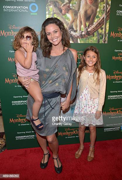 Model Josie Maran and daughters Indi Joon Alborzi and Rumi Joon Alborzi attend the world premiere Of Disney's Monkey Kingdom at Pacific Theatres at...