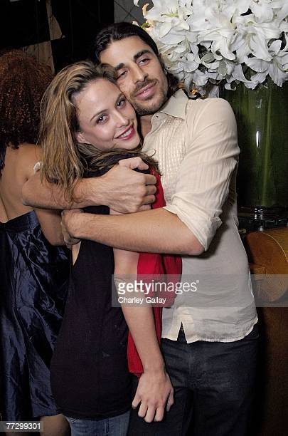 Model Josie Maran and designer Ali Alborzi attend Smashbox Cosmetics' Kick Off LA Mercedes Benz Fashion Week at Mr Chow on October 11 2007 in Beverly...