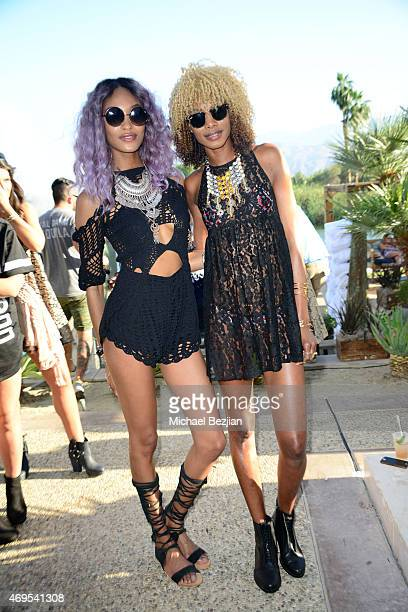 Model Jourdan Dunn and friend at Soho Desert House on April 12, 2015 in La Quinta, California.
