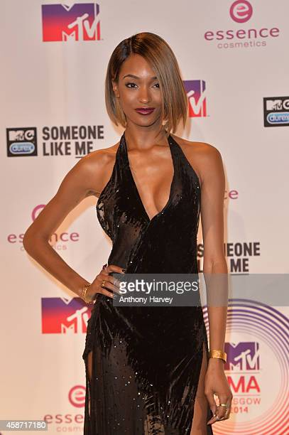 Model Jourdan Dunn poses in the winners room at the MTV EMA's 2014 at The Hydro on November 9 2014 in Glasgow Scotland