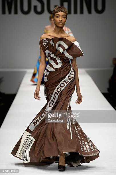 Model Jourdan Dunn walks the runway at the Moschino Autumn Winter 2014 fashion show during Milan Fashion Week on February 20 2014 in Milan Italy