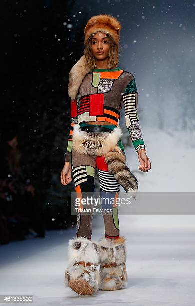 Model Jourdan Dunn walks the runway during the Moschino show at the London Collections Men AW15 at on January 11 2015 in London England