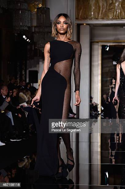 Model Jourdan Dunn walks the runway during the Versace show as part of Paris Fashion Week Haute Couture Spring/Summer 2015 on January 25, 2015 in...