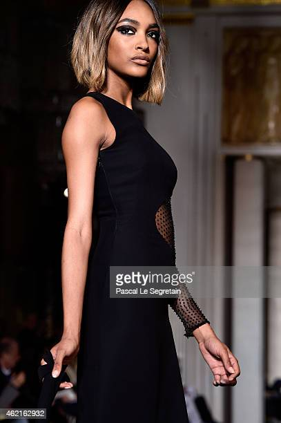 Model Jourdan Dunn walks the runway during the Versace show as part of Paris Fashion Week Haute Couture Spring/Summer 2015 on January 25 2015 in...