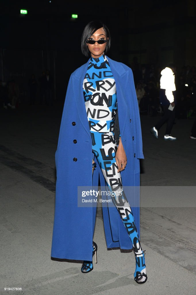 Model Jourdan Dunn wearing Burberry at the Burberry February 2018 show during London Fashion Week at Dimco Buildings on February 17, 2018 in London, England.