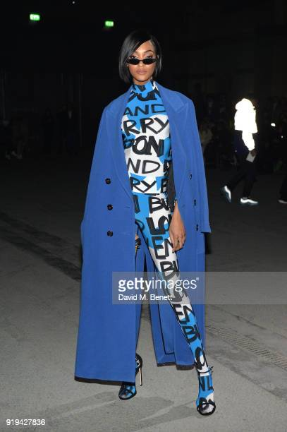 Model Jourdan Dunn wearing Burberry at the Burberry February 2018 show during London Fashion Week at Dimco Buildings on February 17 2018 in London...