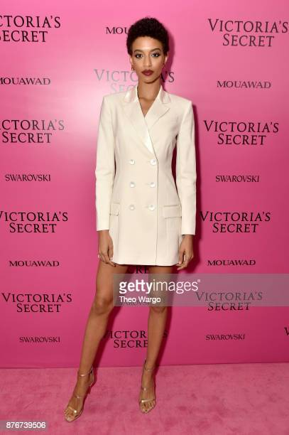 Model Jourdana Phillips attends the 2017 Victoria's Secret Fashion Show In Shanghai After Party at MercedesBenz Arena on November 20 2017 in Shanghai...
