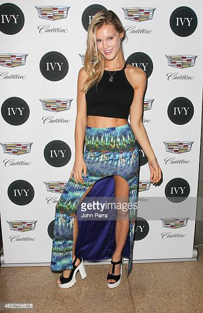 Model Joy Corrigan attends the Miami Innovator Dinner Presented By Cadillac And IVY at The Betsy Hotel on March 4 2015 in Miami Florida