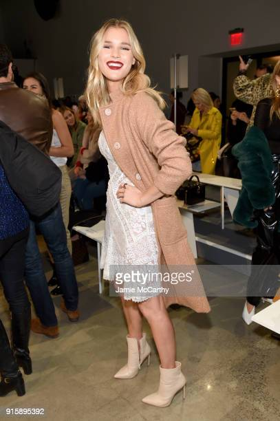 Model Joy Corrigan attends the Tadashi Shoji front row during New York Fashion Week: The Shows at Gallery I at Spring Studios on February 8, 2018 in...