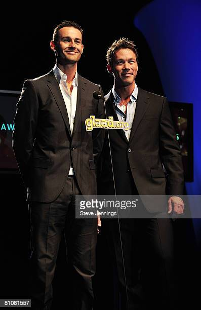 Model JP Calderon and TV host David Bromstad attend the 19th Annual GLAAD Media Awards at the Marriott Hotel on May 10 2008 in San Francisco...