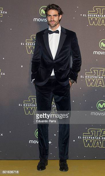 Model Juan Betancourt attends 'Star Wars The Force Awakens' at Callao cinema on December 16 2015 in Madrid Spain