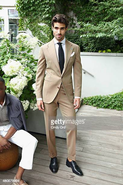 Model Juan Betancourt of Cuba poses at the Eidos presentation during New York Fashion Week Men's S/S 2016 at The James Hotel on July 14 2015 in New...