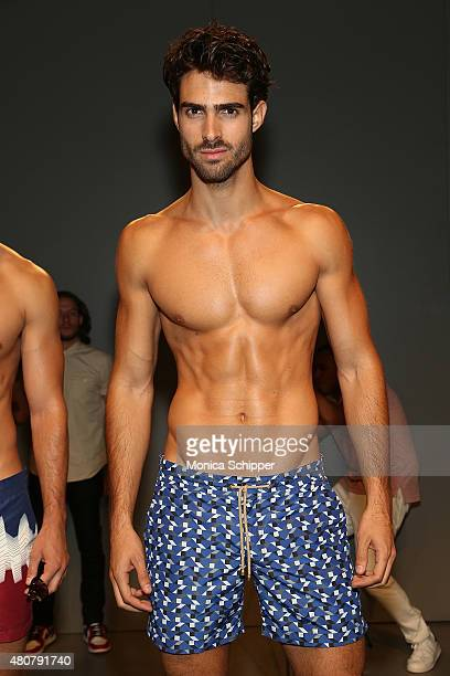Model Juan Betancourt poses at the Thorsun Swim Presentation during New York Fashion Week Men's S/S 2016 at Skylight Clarkson Sq on July 15 2015 in...