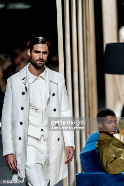 Model Juan Betancourt walks the runway at the Juanjo Oliva show during the MercedesBenz Fashion Week Madrid Spring/Summer 2018 at Ifema on January 27...