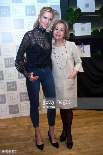 Model Judit Masco and Estrella Pujol director of Oxigen attend anniversary Party of Oxigen at Restaurante La Farga on April 18 2018 in Barcelona Spain