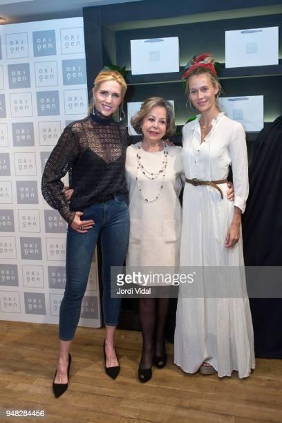 Model Judit Masco Estrella Pujol director of Oxigen and Vanesa Lorenzo attend anniversary Party of Oxigen at Restaurante La Farga on April 18 2018 in...