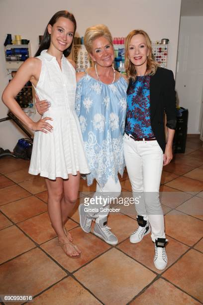 Model Julia Czechner, Claudia Effenberg and Katja Flint during the charity shopping night at CE design store on May 31, 2017 in Munich, Germany.