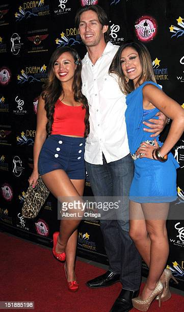 Model Julia Fong actor Mike Sweet and model Kelli Huarte arrive for the Viewing Party For The Flirty 30 Fox's Take Me Out held at El Torito Grill on...