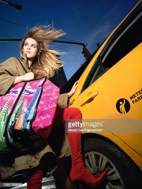 Model Julia Frauche poses at a fashion shoot for Madame Figaro on November 2, 2017 in New York City. All by Balenciaga. PUBLISHED IMAGE. CREDIT MUST...