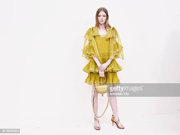 Model Julia Hafstrom poses prior the Chloe show as part of the Paris Fashion Week Womenswear Spring/Summer 2017 on September 29 2016 in Paris France