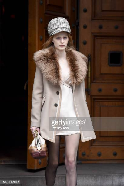 Model Julia Nobis walks the runway for the Marc Jacobs Fall 2017 Show at Park Avenue Armory on February 16, 2017 in New York City.