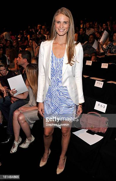 Model Julie Henderson attends the Rebecca Minkoff Spring 2013 fashion show during MercedesBenz Fashion Week at The Theatre Lincoln Center on...