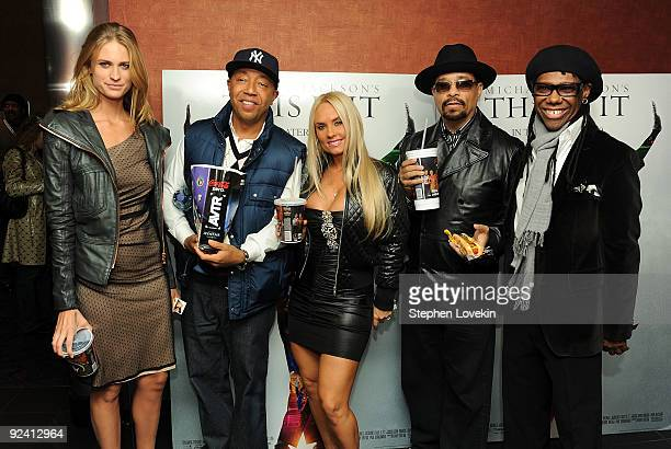 Model Julie Henderson hiphop mogul Russell Simmons model Coco actor/rapper Ice T and musician/producer Nile Rodgers attend the Michael Jackson's This...