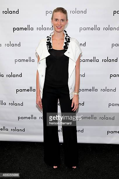 Model Julie Henderson poses backstage at the Pamella Roland fashion show during MercedesBenz Fashion Week Spring 2015 at The Salon at Lincoln Center...