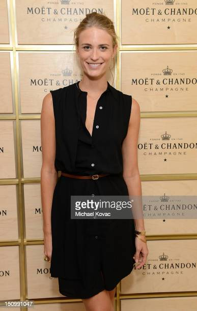 Model Julie Henderson visits the Moet Chandon Suite at the 2012 US Open at the USTA Billie Jean King National Tennis Center on August 29 2012 in the...
