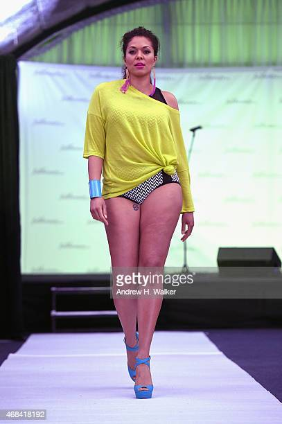Model Julie Henderson walks the runway at FULLBEAUTY Brands' launch of fullbeautycom and Fullbeauty Magazine on April 2 2015 in New York City
