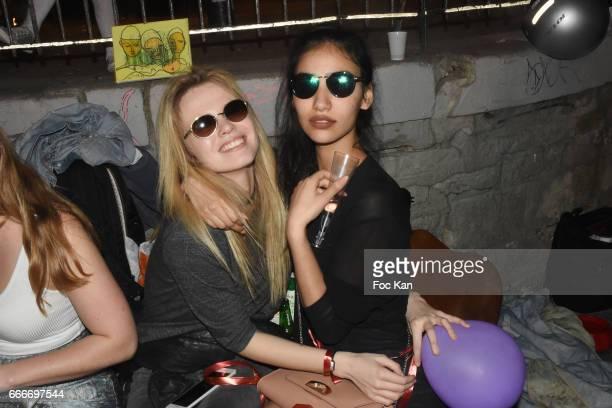Model Julie Jardon and Christian Louboutin PR assistant Sabrina Sebti attend Photographer Ko Kok Birthday Party At Le Vert Galant Garden on April 9...